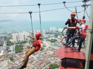the gravityz penang ticket lets you try zipline course on top of komtar