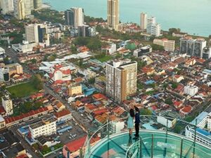 the top komtar ticket lets you be on the rainbow walk on top of the komtar building in penang