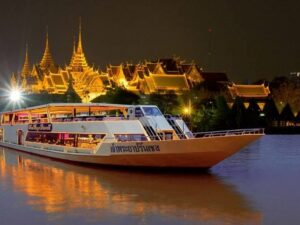 during the chao praya princess cruise you'll be able to see the lit up river bank of bangkok during an unforgettable dinner cruise