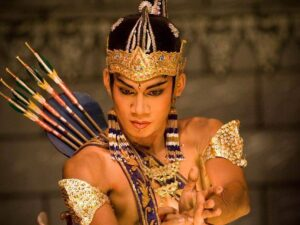 an actor in the ramayana ballet purawisata performance in the prambanan temple area
