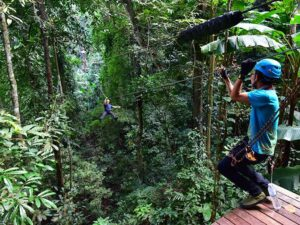 one of the customer trying out the flight of the gibbon chiang mai