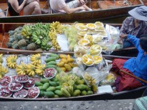 during your damnoen saduak floating market tour you'll get to see how the traditional market in bangkok operates