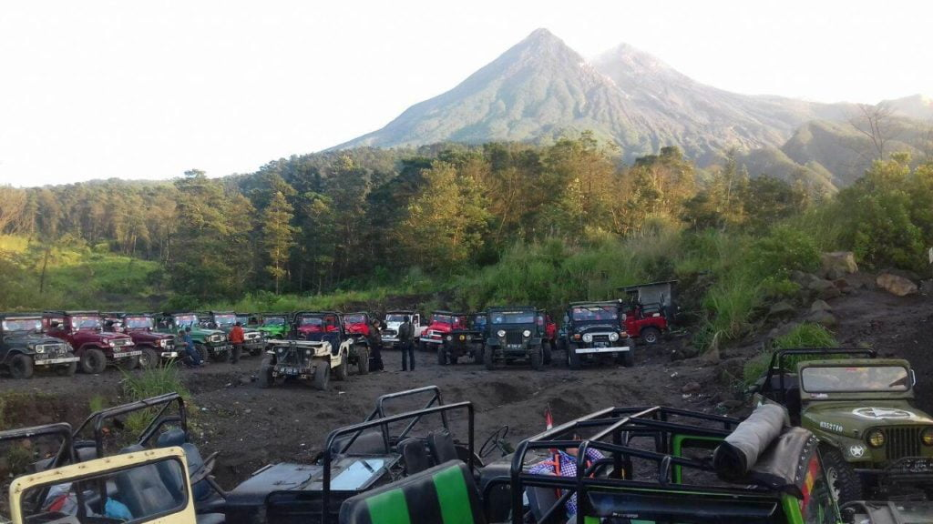 the merapi jeeps at the base of the volcano in indonesia