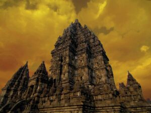 the prambanan temple in yogjakarta during sunset