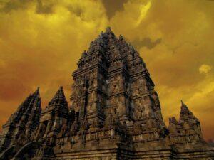 the prambanan temple in yogjakarta during sunset