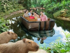 with the singapore river safari ticket lets you get on a boat ride to see animals around the world's most important rivers