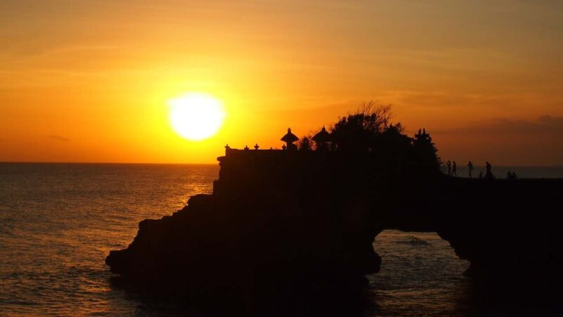 the tanah lot area during a sunset tour