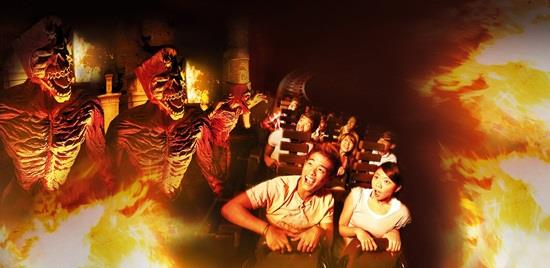 in the uss ancient egypt, you can try the roller coaster which combines a haunted house and roller coaster