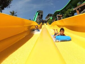 a dual racer slider at the waterbom bali theme park