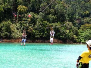 with the coral flyer zipline ticket, you'll get to cross the sapi island on one of the best zipline adventure in malaysia