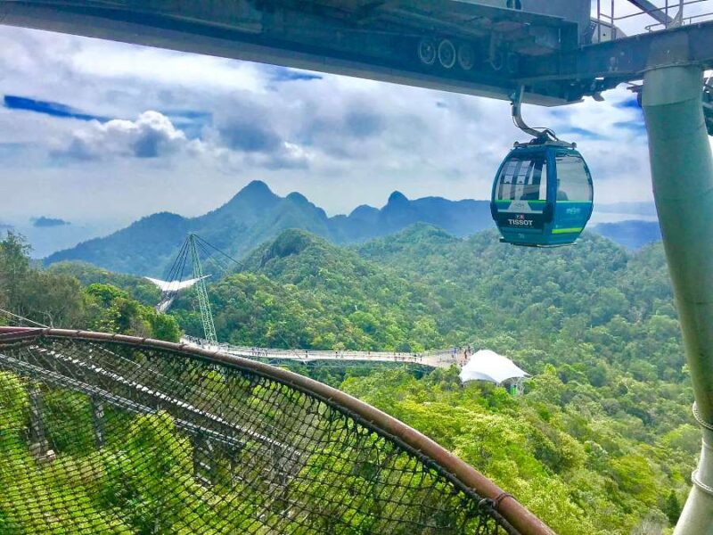 langkawi cable car on top station with view of the skybridge