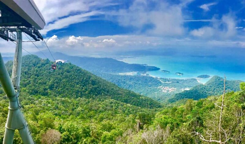 view of the sea from the skycan of langkawi cable car