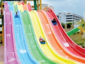 insane racer water slide in bangi wonderland for kids and adults